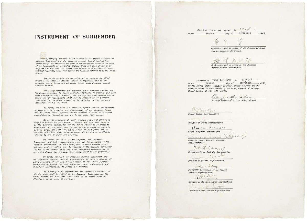 Japan Instrument of Surrender 2 September 1945. United States War Department.