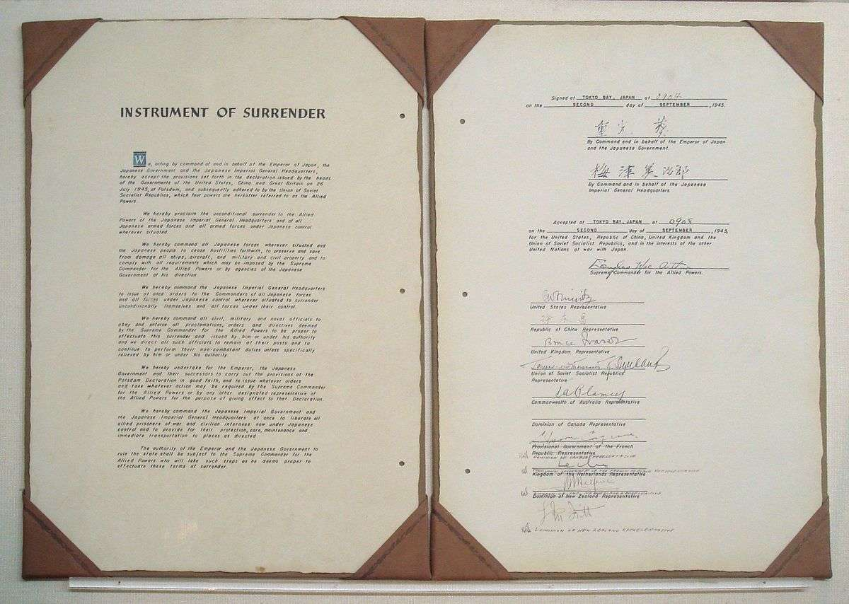 Japan Instrument of Surrender 2 September 1945. Diplomatic Record Office of the Ministry of Foreign Affairs (Japan).