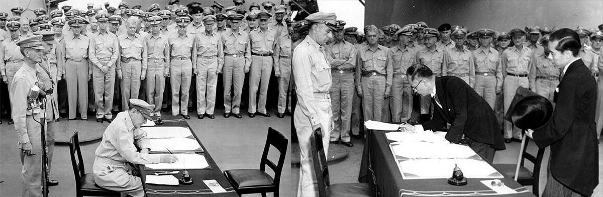Formal surrender ceremonies on the USS MISSOURI in Tokyo Bay. Image: Naval History and Heritage Command.
