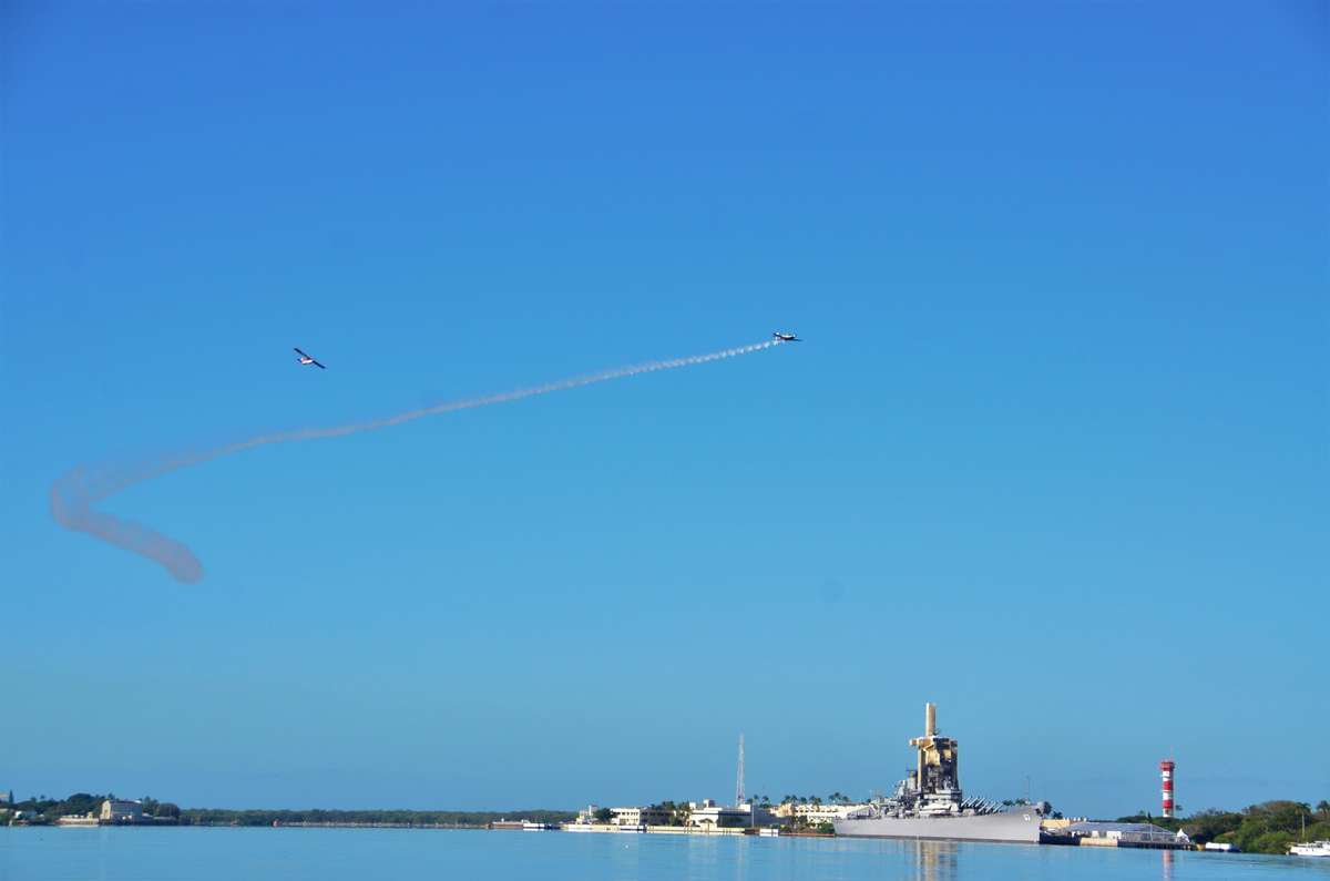 Fly over of vintage planes as part of the 76th bombing of Pearl Harbor anniversary commemorations. Image: Anne Doran / ANMM.