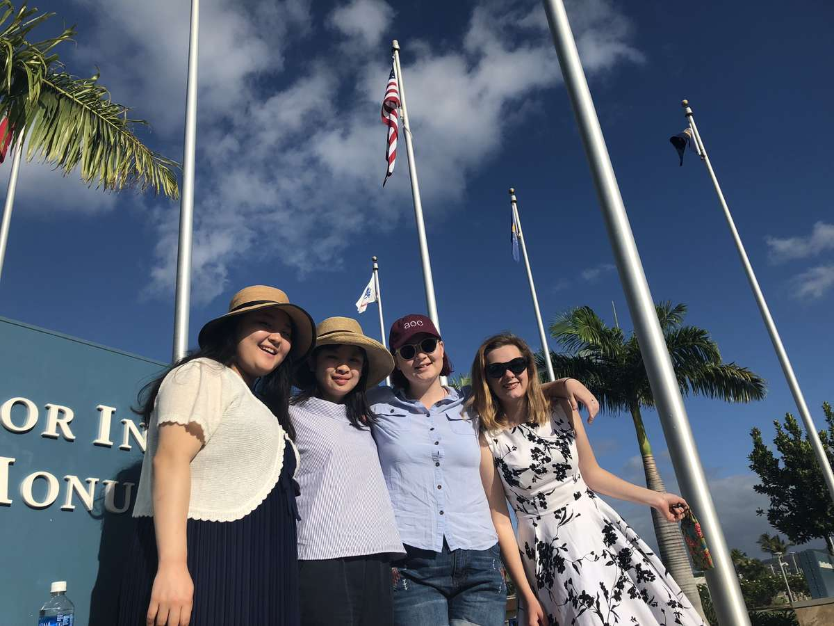 Student ambassadors outside the World War II Valor in the Pacific National Monument, Pearl Harbor. From left: Nanari Minegishi, Millicent Sarginson and Sara Cole. Image: Anne Doran / ANMM.