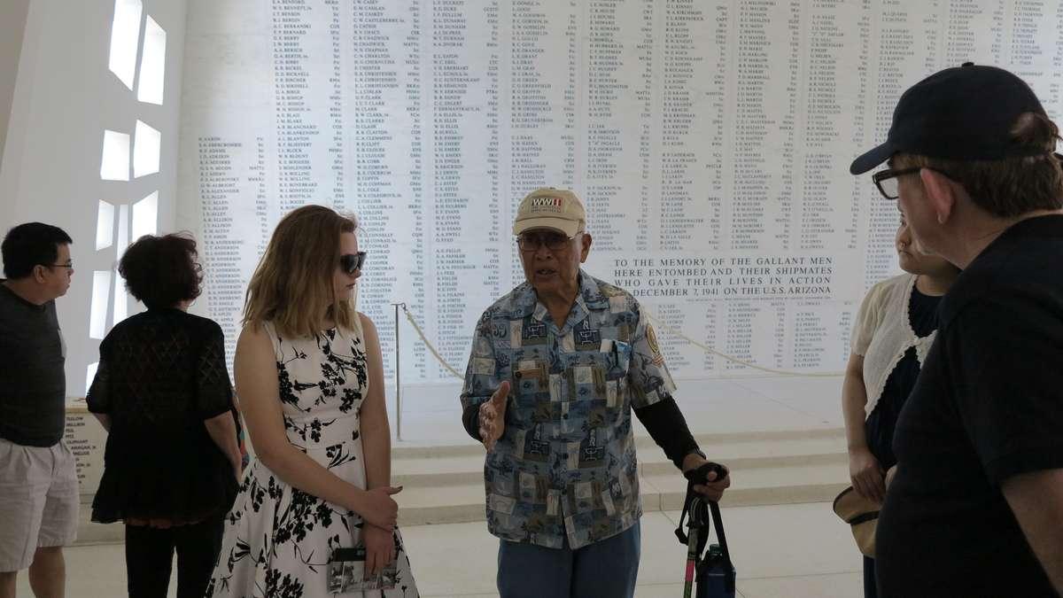 Sara and Jimmy Lee at the Arizona Memorial. Image: Anne Doran / ANMM.