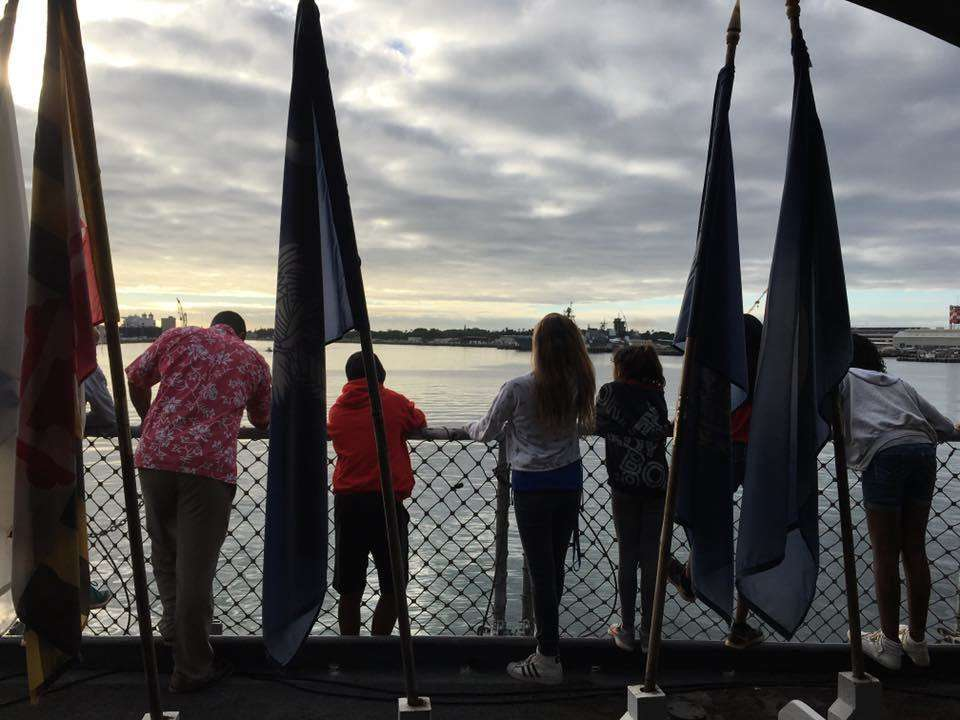 Some of the Aliamanu Middle School students on the Battleship Missouri Memorial. Image: Anne Doran / ANMM.