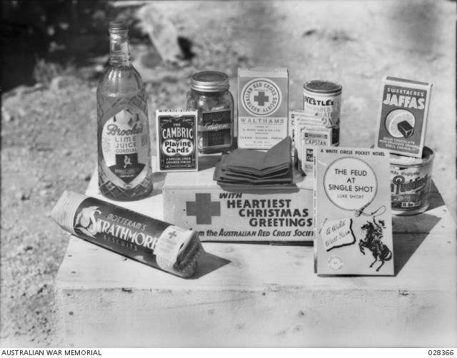 "The contents of a Christmas gift parcel, presented by the Australian Red Cross Society to inmates of service hospitals on Christmas day. <a href=""https://www.awm.gov.au/collection/C11922"">AWM Collection</a>."