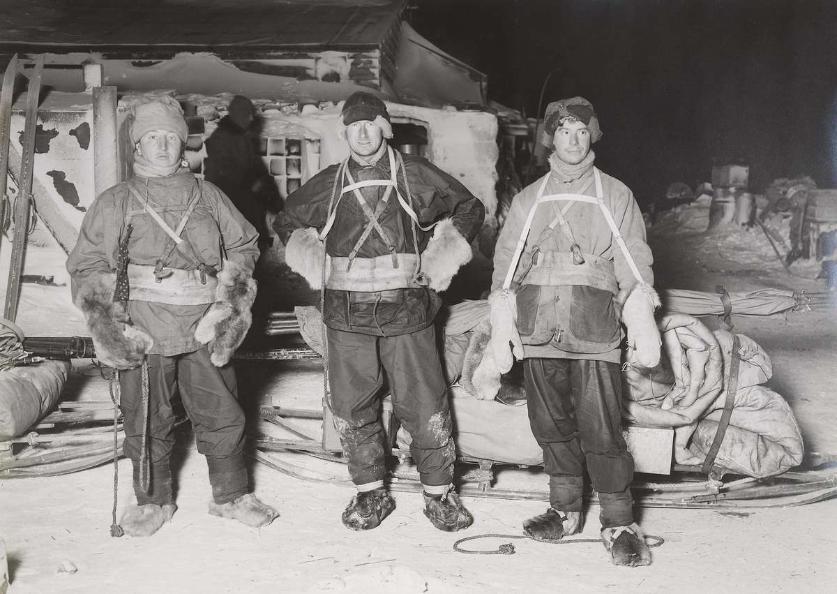 "Henry Bowers, Edward Wilson and Apsley Cherry-Garrard as they depart Cape Evans on what would become known as ""The Worst Journey in the World""."