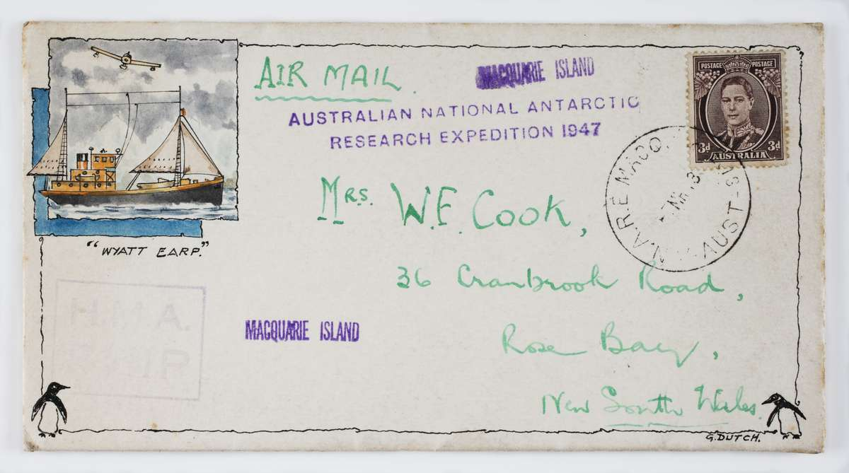 William Cook mailed this envelope to his wife while Wyatt Earp was stationed at Macquarie Island. ANMM Collection ANMS1445[070].