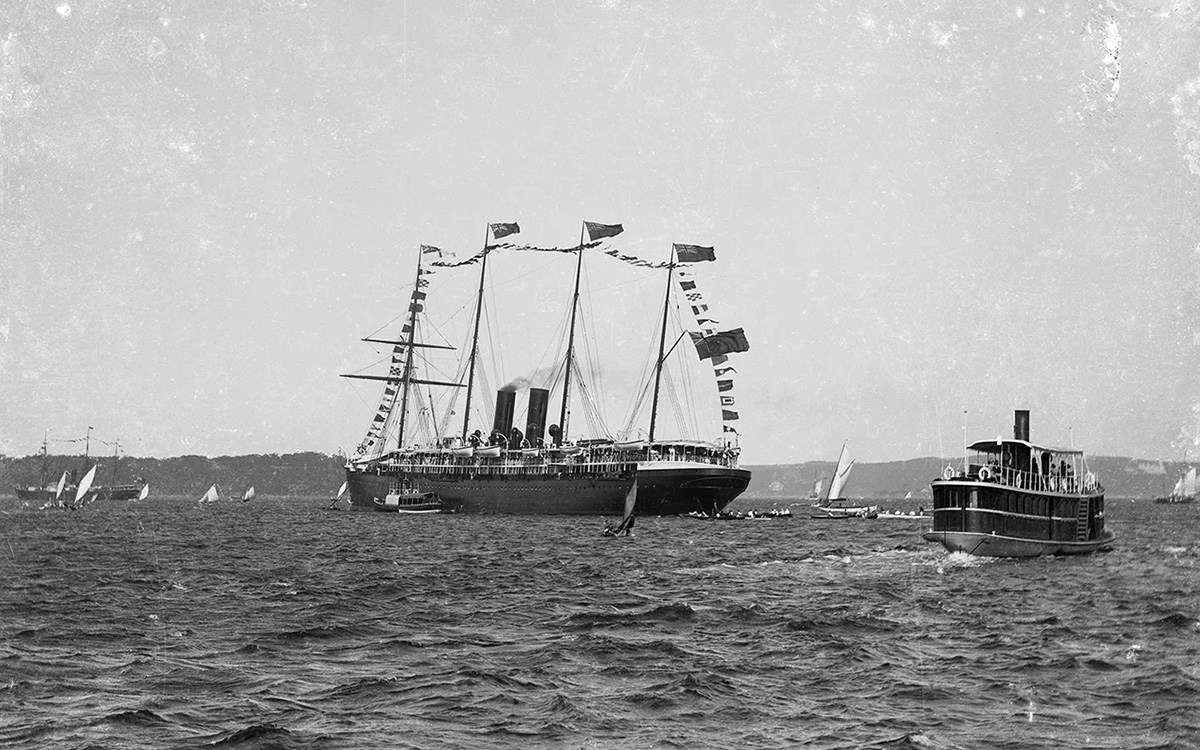 An Anniversary Day Regatta on Sydney Harbour in the late 19th century. Inaugurated in 1836, the regatta drew large crowds. In the centre of the image is the passenger liner Orizaba, acting as flagship. ANMM Collection 00017559 Gift from the Estate of Peter Britz.