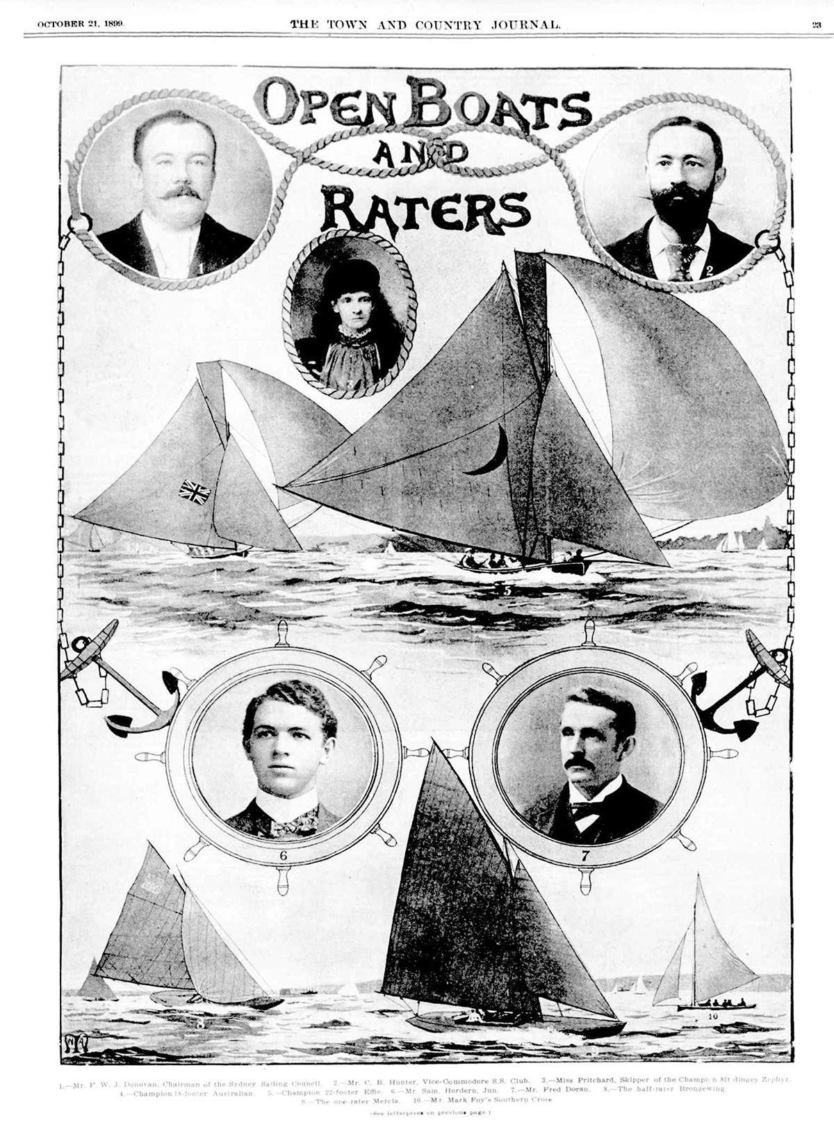 "The Town and Country Journal of 21 October 1899 featured an image of Irene captioned ""Miss Pritchard, skipper of the champion 8ft dingey [sic] Zephyr'."