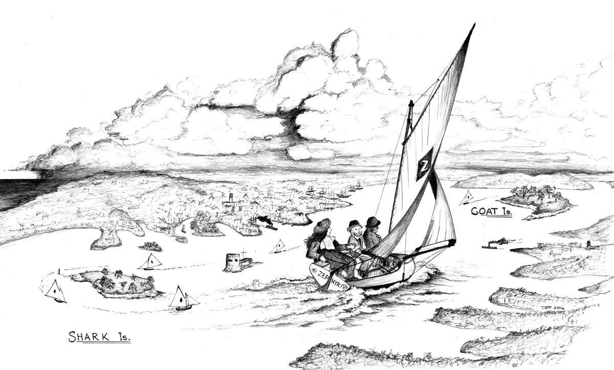 The course of the eight-footer races, covering some 11.5 kilometres. Drawing by David Payne/ANMM.