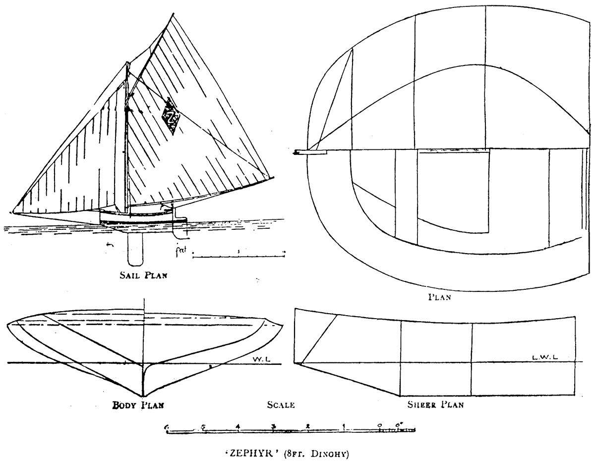Diagram of Zephyr from Australian Wooden Boats, Volume One, reprinted from The Yachtsman, 13 April 1899.