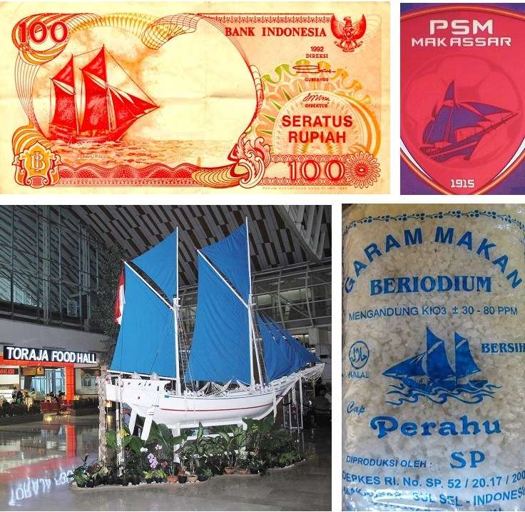 <em>Pinisi </em>as a national icon: 100 Rupiah bank note; football club trademark; 1:5 scale model at Makassar international airport; sea salt packaging. Photographs: Jeffrey Mellefont.