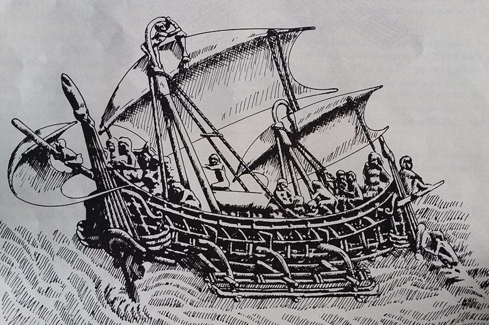 Medieval Javanese ship with tripod masts, canted rectangular sails, quarter-hung rudders, depicted in 8<sup>th</sup>-century temple frieze, Borobudur, Central Java. Drawing Chris Snoek, from <em>The Prahu</em> by Adrian Horridge, OUP 1981.