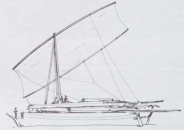 Double-ended Bugis-Makassan <em>pajala-</em>style ship with tripod masts and canted rectangular sails (some of them lowered and stowed on deck), as well as quarter-hung rudders. William Westall, Arnhem Land (Northern Australia), 1803.