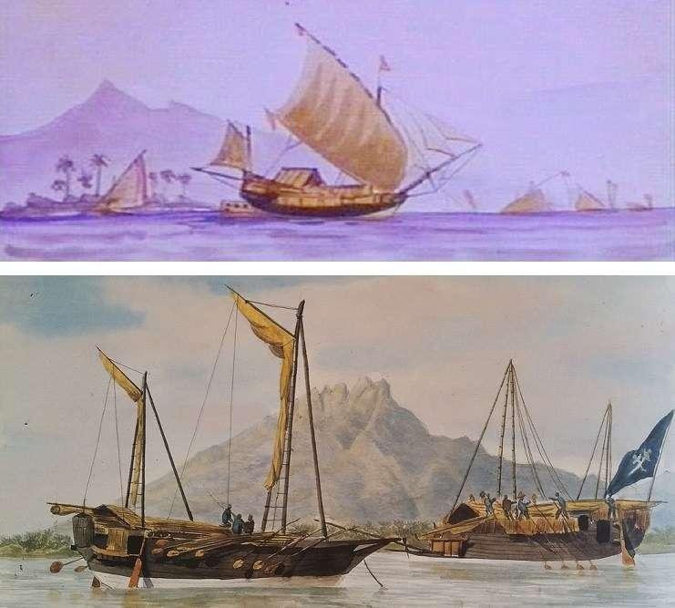 "TOP: Javanese '<em>jonque' </em>with added Western bowsprit, jibs and spanker, watercolour by Thomas Baines 1856. Collection National Library of Australia. LOWER: Early record of standing-gaff 'ketch' rig on a Sulawesi ship, 1831. <em>Cargo vessels of Makassar, at Besuki [Java]</em>, watercolour by François-Edmond Pâris. Collection <a href=""http://www.musee-marine.fr/"">Musée de la Marine</a>, Paris."