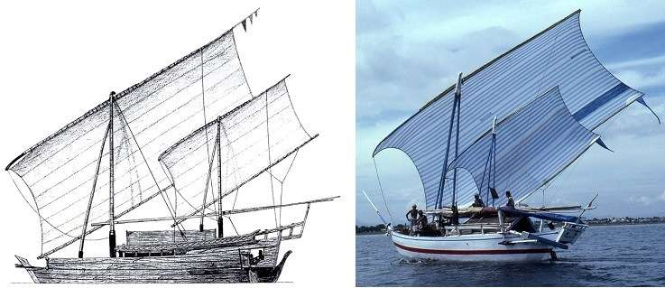 Continuity of boat-building traditions. LEFT: Study for replica of a 19<sup>th</sup>-century <em>padewakang</em>, Nick Burningham 1987 Northern Territory Museum. RIGHT: <em>Patorani</em>, a Makassan offshore fishing vessel 1985. Photograph: Jeffrey Mellefont.