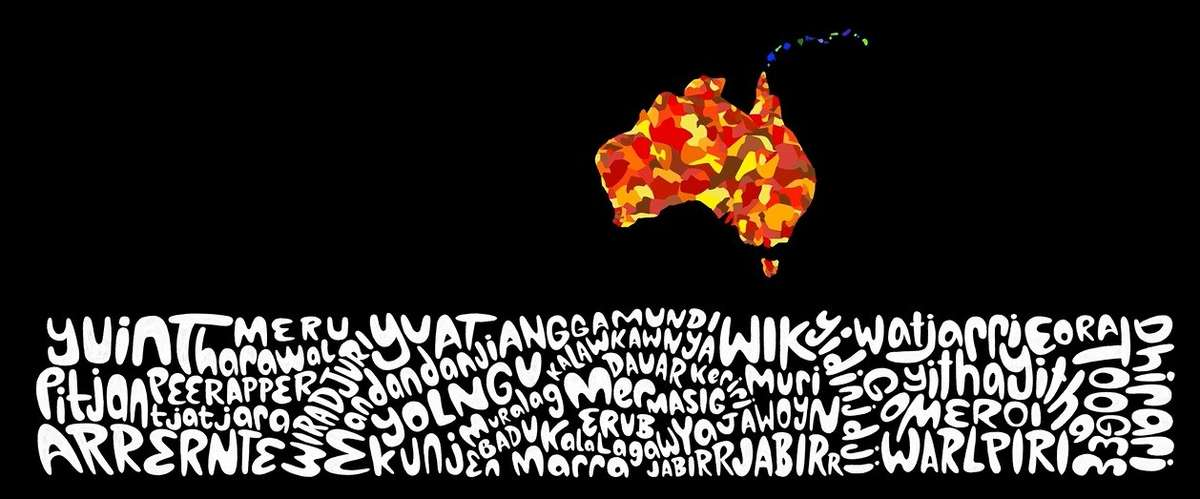 A scene from the <em>Remembering Mabo</em> rooftop projection showing Australia's numerous First Nations and their many languages. Image: ANMM.