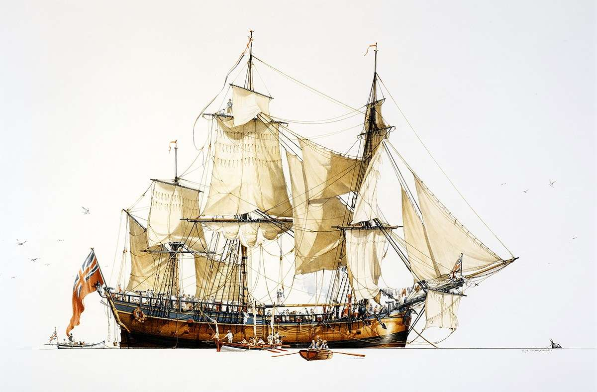This watercolour of the HMB <em>Endeavour</em> replica, by marine artist Ross Shardlow, was gifted to the museum by the Endeavour Replica Foundation. It was commissioned to commemorate the completion of the replica, which is now an iconic feature of the museum