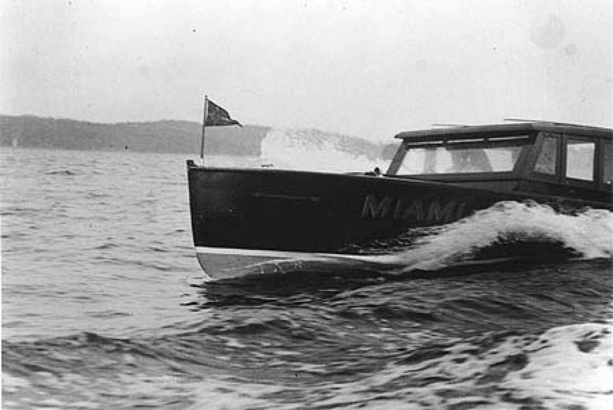 Applications are welcome for joint or partnered projects. A boat named Miami Toronto NSW circa 1950. Photographer unknown. Lake Macquarie Community Heritage Photography collection.
