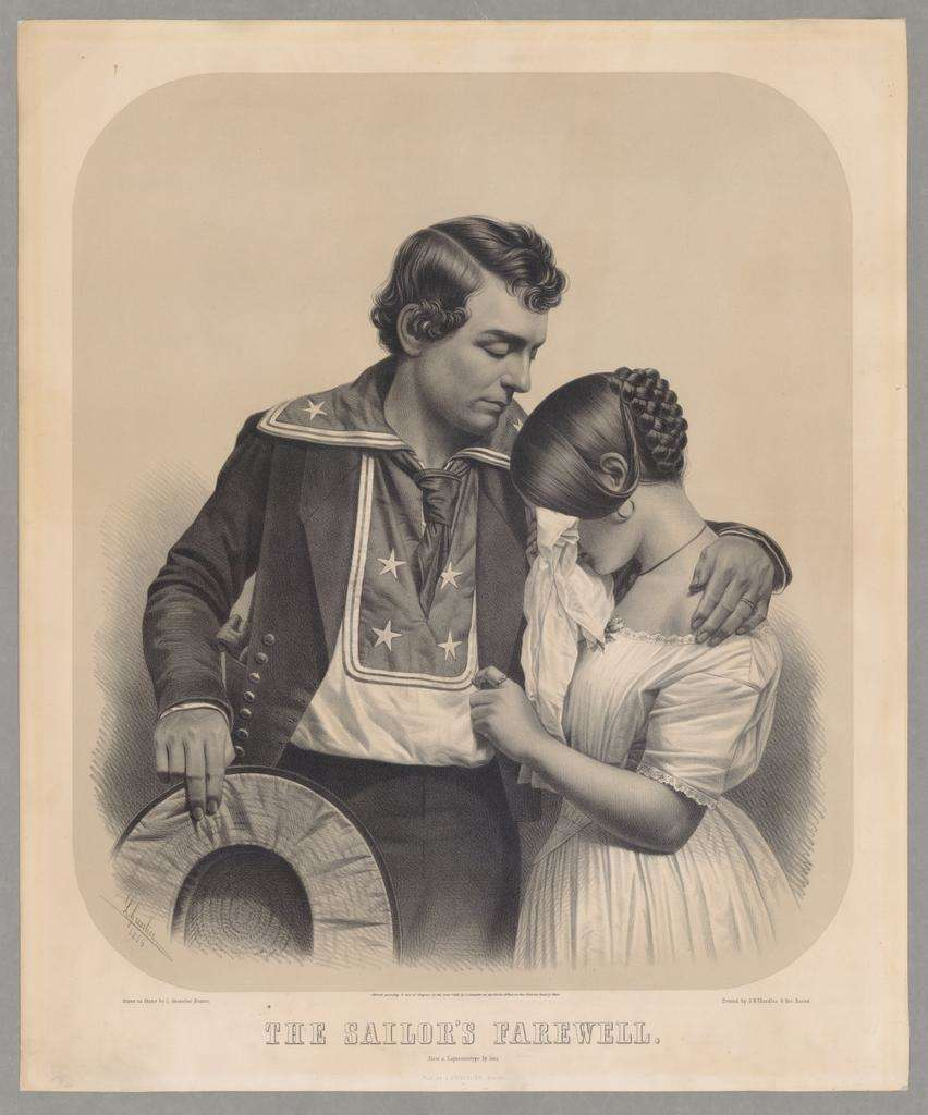 "The perils and poignancy of loving a sailor as captured by French artist Leopold Grozelier in 1856.<a href=""http://dms.wellesley.edu/main.php?module=objects"">The Davis Museum</a>, Wellesley College."