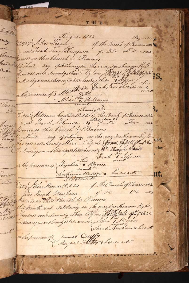Marriage register for John Shying and Sarah Jane Thompson (top of page), 1823. Courtesy St John's Anglican Church Parramatta.
