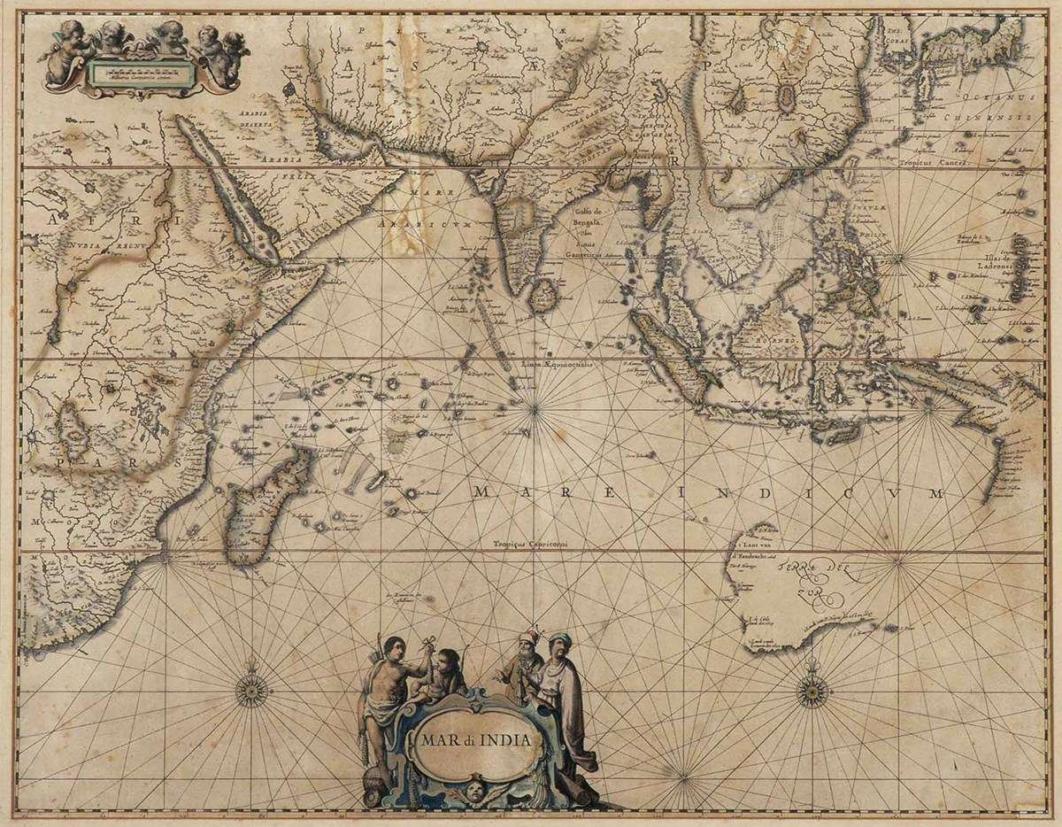 The enigma of the Great Southern Land. Hand-coloured engraved map from 1650 showing the Indian Ocean and the lands around it. The west coast of Cape York appears at centre right, and parts of the west and south coasts of Australia (titled 'Terra des Zur') at lower right. ANMM Collection <a href='http://collections.anmm.gov.au/en/objects/details/20746/mar-di-india?ctx=79612b22-7cb3-49ed-af30-0d4f528e1234&idx=0'>00027902</a>.