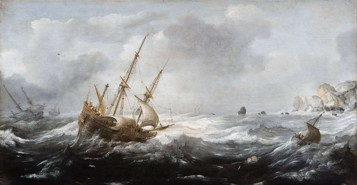 The power of nature wrought wild on the high seas. Ships in a storm on a rocky coast, Jan Porcellis, 1614–18. Courtesy Hallwyl Museum, Stockholm.