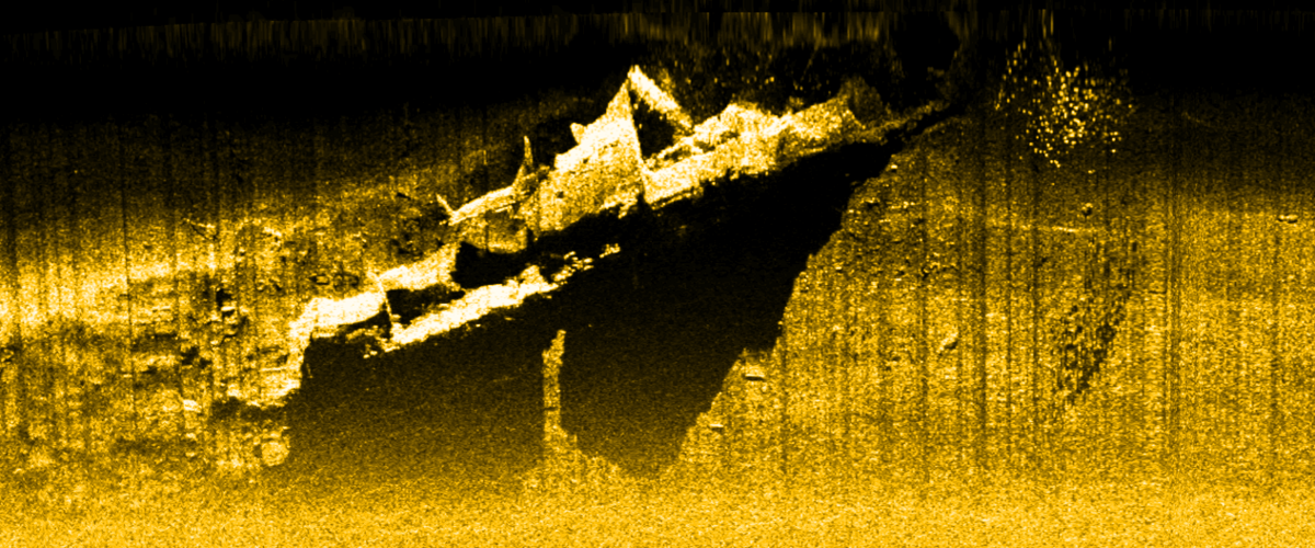 Side scan sonar image of <em>Perth</em>, December 2016. North is at top of image. Image ANMM/Pusat Penelitian Arkeologi Nasional.