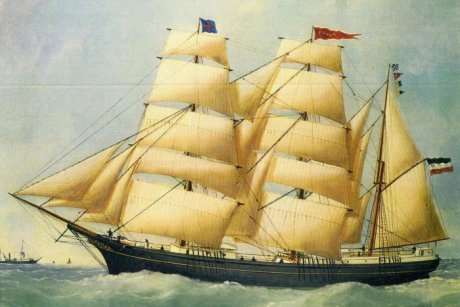 The German barque <em>Paula</em> painted in 1876. By Édouard Adam, via <a herf='http://mobile.abc.net.au/news/2018-03-06/german-merchant-sailing-barque-paula-in-1880/9518670, Public Domain, https://commons.wikimedia.org/w/index.php?curid=67116383'>abc news</a>.