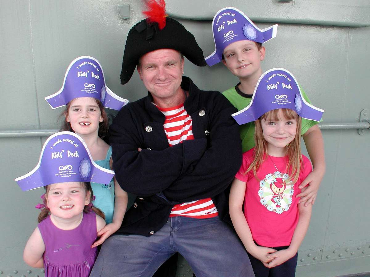 Actor Paul Wilson dressed as Bosun Mess, our first Kids Deck Mascot, on board HMAS Vampire. Image: ANMM.