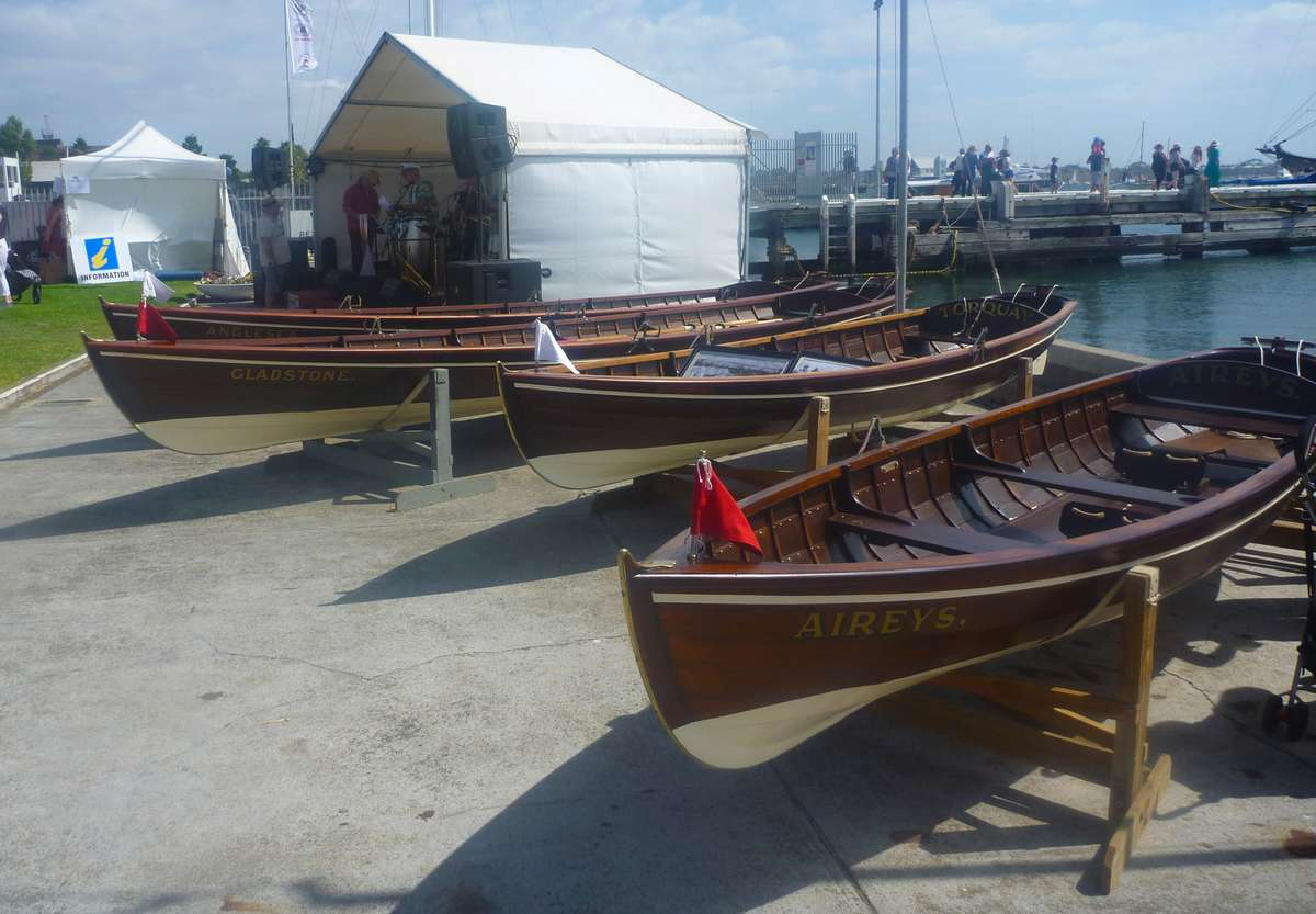 The four Anglesea rowing skiffs, <em>Torquay</em>, <em>Anglesea</em>, <em>Gladstone</em> and <em>Aireys</em>. Image: David Payne/ANMM.