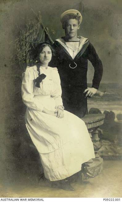 Studio portrait of Able Seaman Jack Jarman and a young woman, believed to be his sister. Jarman joined the crew of <em>AE1</em> in February 1914. He was 21 years of age when it disappeared. Image Australian War Memorial <a href='https://www.awm.gov.au/collection/C1255013'>P09222.001</a>.