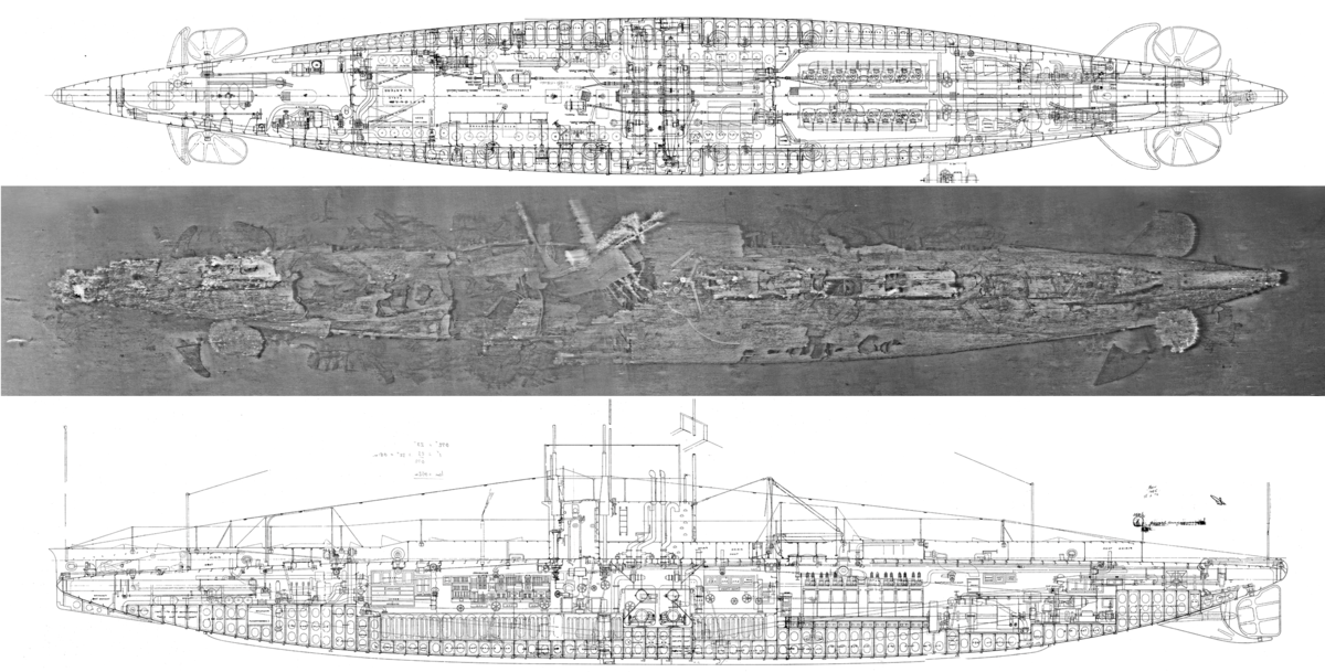 A composite image of the wreck of <em>AE1</em>, comprising of thousands individual photographs, juxtaposed with plan and elevation drawings of the vessel. Image: Find the Men of <em>AE1</em> Ltd.