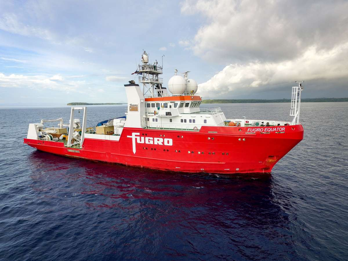 The search expedition's ship, MV <em>Fugro Equator</em>, is a dedicated survey vessel deploying a Hugin 3000 AUV capable of operating in depths up to 3,000 metres. Image: Find the Men of <em>AE1</em> Ltd.