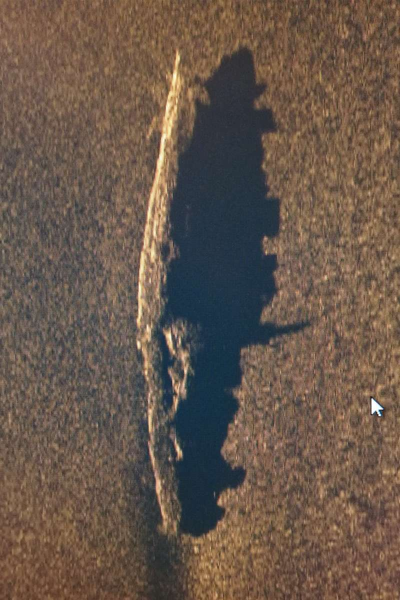 One of the first images of the submarine. A side-scan sonar casts a sonic