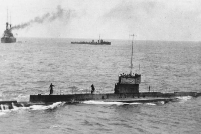 The last known photograph of <em>AE1</em>, taken on 9 September 1914, five days before its disappearance. Image Sea Power Centre Australia.