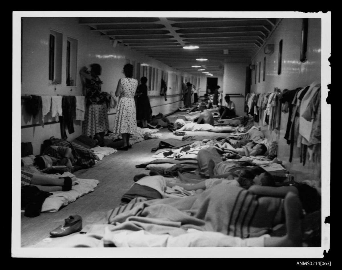 Temporary accommodation for Skaubryn survivors on the deck of the Italian liner Roma, 1958. ANMM Collection Gift from Barbara Alysen ANMS0214[063]. Reproduced courtesy International Organisation for Migration.