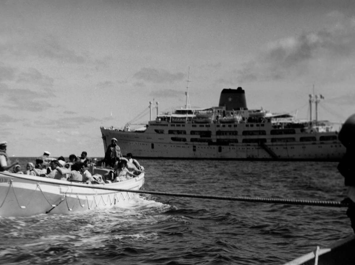 <em>Skaubryn</em> survivors were transferred to Aden in one of <em>Roma</em>'s lifeboats, 1958. ANMM Collection Gift from Barbara Alysen ANMS0214[022]. Reproduced courtesy International Organisation for Migration.