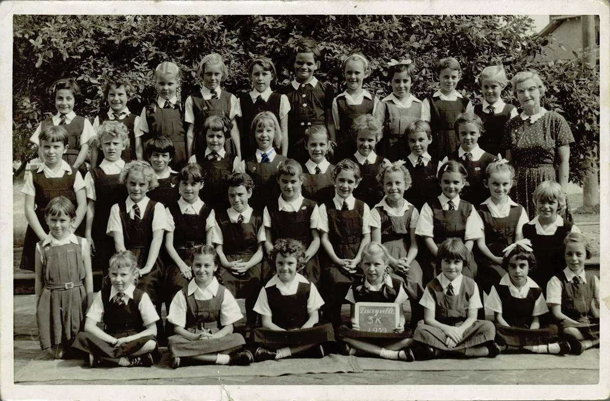 Ute Gabriel (second row from top, fifth from left) in Year 3 at Daceyville Public School, Sydney, 1959. Reproduced courtesy Ute Mahoney.