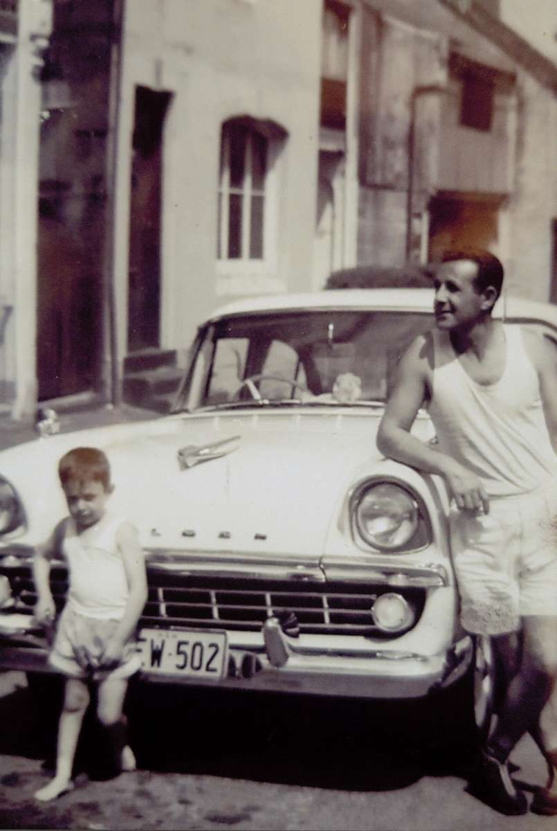 Charles Cutajar with his youngest son Frank in Paddington, Sydney, late 1950s. Reproduced courtesy Joseph Cutajar.