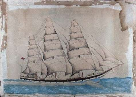 A sketch from the Watt collection featuring a three-masted full-rigged ship at sea. ANMM Collection 00030198.