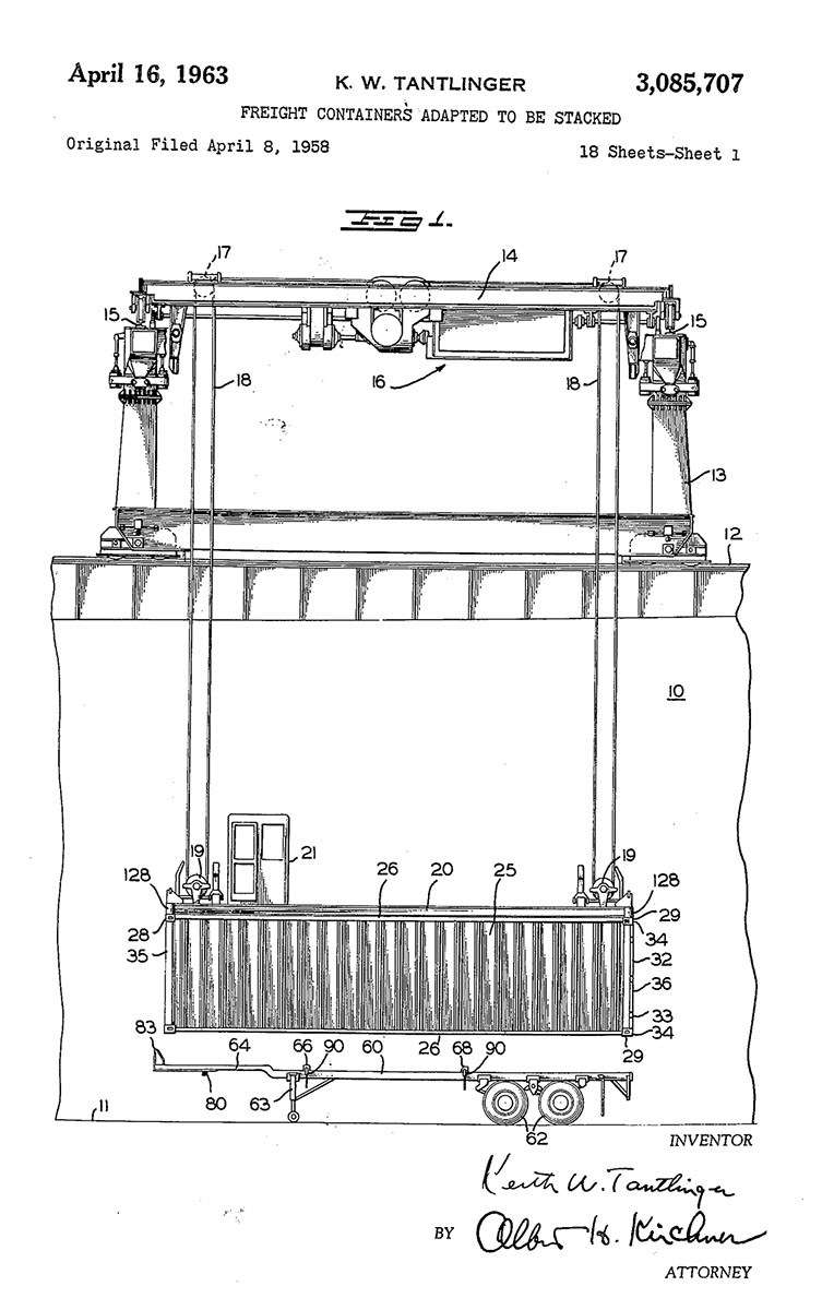 One of the early container patents, by engineer Keith Tangliger for McLean