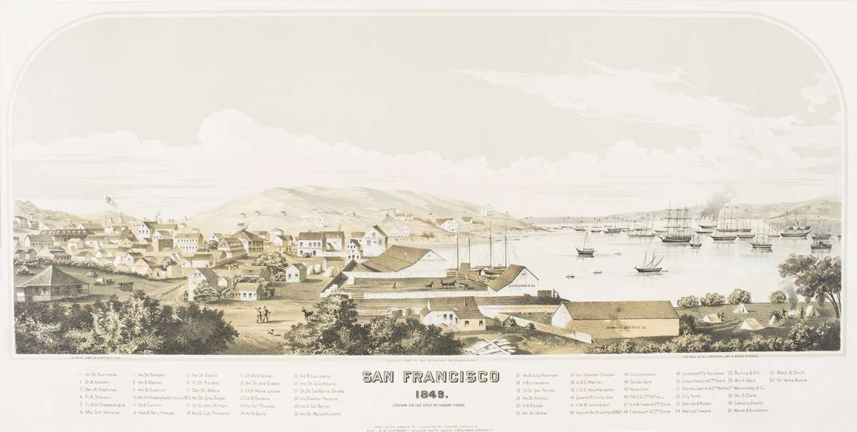 San Francisco 1849, lithograph painted on the spot by Henry Firks. This lithograph provides a view of the transition of the city of San Francisco from a small trading post to a major port due to the Californian Gold Rush. ANMM Collection 00005550.