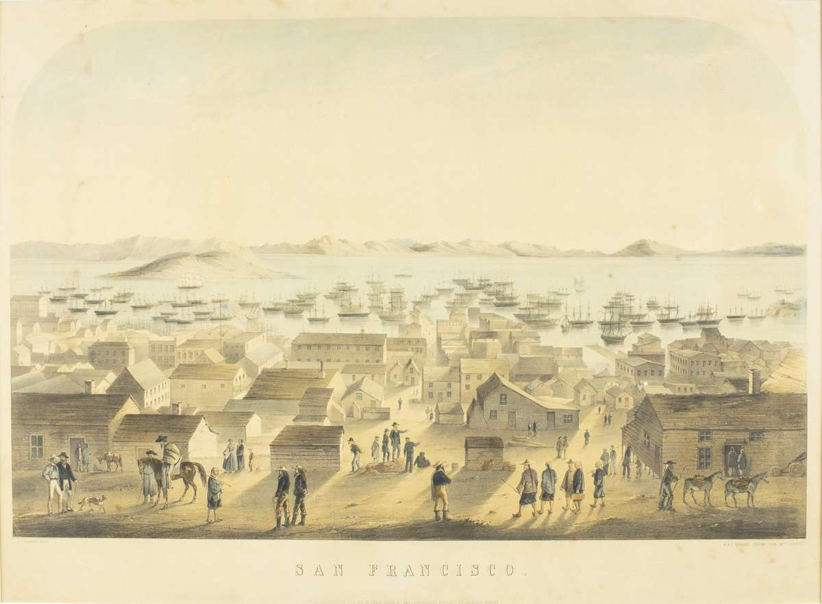 San Francisco. Chromolithograph, 1851 M. & N. Hanhart. The image portrays a view looking east towards the Bay and features a number of people from different nationalities, including Spanish and Chinese in the foreground. The bay is exceedingly crowded with boats. ANMM Collection 00015148.