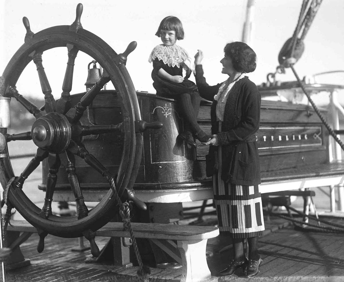 Making it look easy, Ethel May Sterling and her daughter Margaret aboard her husband