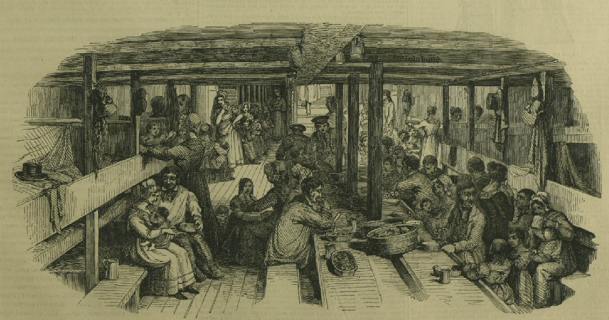 Mothering duties on an immigrant ship in 1844 involved feeding, cleaning and caring for children in very cramped and public conditions. Illustrated London News, April 13, 1844. ANMM Collection <a href='http://collections.anmm.gov.au/en/objects/details/43378/emigration-to-sydney--towing-out--emigrants-at-dinner?ctx=823494cb-1d46-4af1-8f5a-f3f86b79c102&idx=0'>00005628</a>.