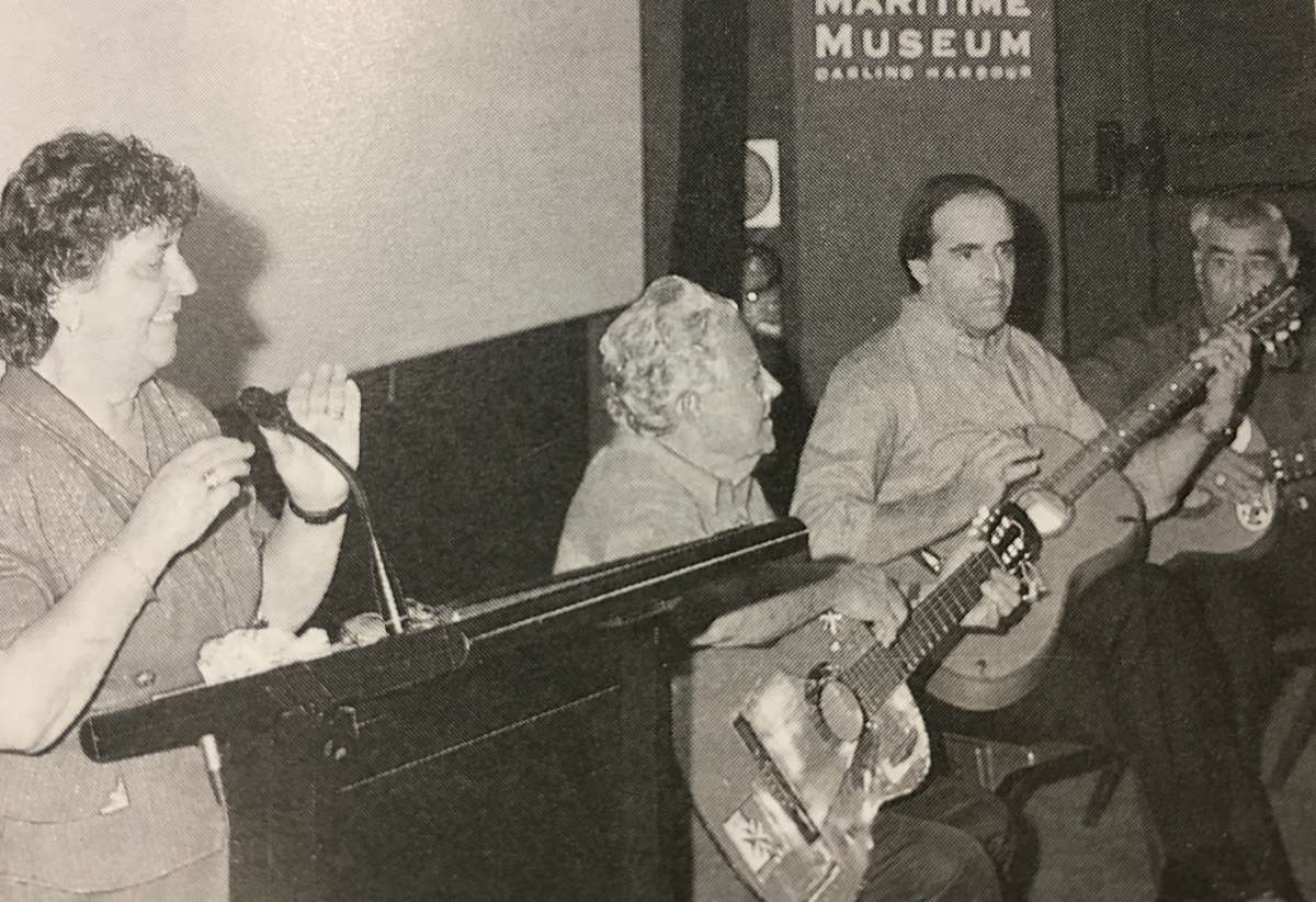 Georgina Camenzuli performing her għana at the museum, accompanied on guitar by her husband Zaren and two friends, 1996. Reproduced courtesy Camenzuli family.