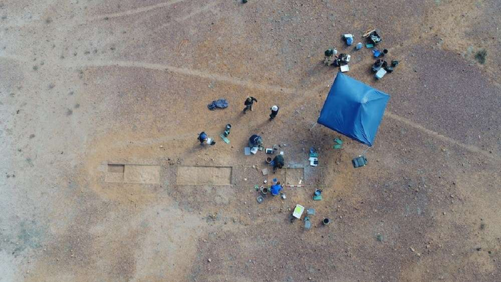 Aerial view of an excavation of a Native Mounted Police barracks site in Queensland. Image courtesy Lynley Wallis.