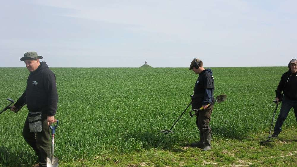 Examining the site of the Battle of Waterloo using metal detectors. Image courtesy Tony Pollard.