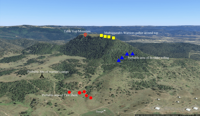 Reconstruction of positions at the 1843 Battle of One Tree Hill, a victory by Aboriginal warriors over a force of settlers. Image courtesy Ray Kerkhove.