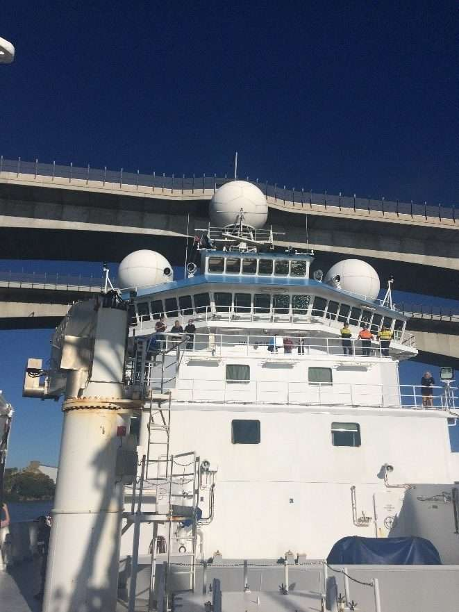 RV <em>Investigator</em> clearing the bridge as we left the Port of Brisbane on 14 May. Image: Emily Jateff/ANMM.